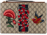 Gucci 'GG Supreme' embroidered pouch - unisex - Calf Leather/Canvas - One Size