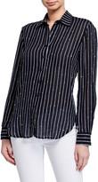 Finley Matias Sequin Striped Long-Sleeve Boyfriend Shirt