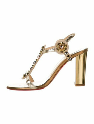 Christian Louboutin Leather Studded Accents T-Strap Sandals Gold