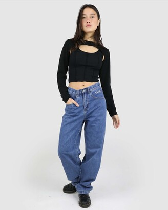 Dakota501 - Women's Blue Relaxed Jeans - Smiley Wide Leg Jeans - Size One Size, 6 at The Iconic