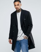 Asos Wool Mix Double Breasted Overcoat In Black