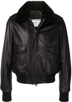Ami Shearling Collar Bomber Jacket