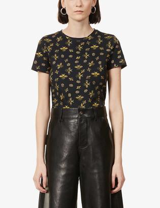 Alice + Olivia Rylyn bee-print cotton-jersey T-shirt
