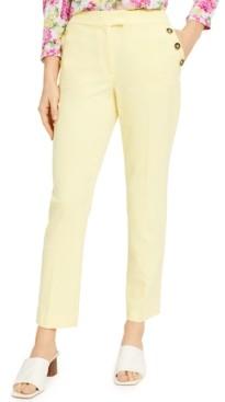 Bar III Buttoned Slim Straight-Leg Dress Pants, Created for Macy's