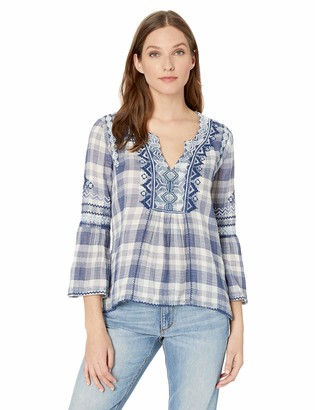 3J Workshop by Johnny Was Women's Flare Sleeve Blouse with Embroidery