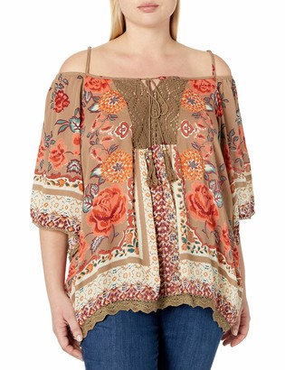 Angie Women's Plus Size 3/4 Sleeve Cold Shoulder Top with Crochet & Tie