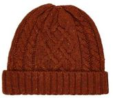 River Island Rust Brown Cable Knit Beanie
