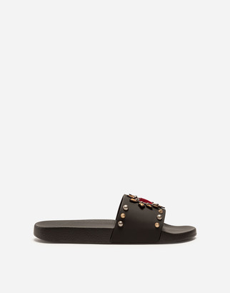 Dolce & Gabbana Rubber And Calfskin Sliders With Heart Patch