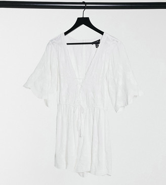 New Look embroidered beach playsuit in white