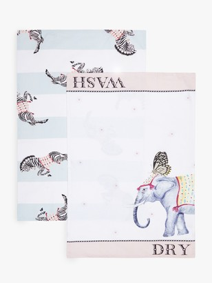 Yvonne Ellen Elephant & Zebra Tea Towels, Pack of 2, White/Multi