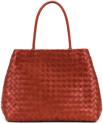 Bottega Veneta Leather Woven Tote in Rust & Gold | FWRD