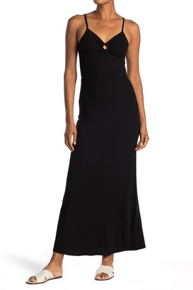 Love, Fire Ribbed Keyhole Cutout Maxi Dress