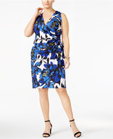 INC International Concepts Plus Size Floral-Print Faux-Wrap Dress, Created for Macy's