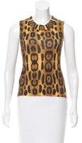Oscar de la Renta Cashmere Leopard Print Sweater