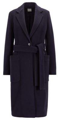 BOSS Belted coat in a virgin-wool blend with cashmere