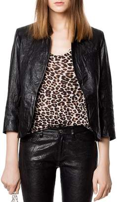 Zadig & Voltaire Verys Crinkled Leather Jacket
