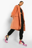 Thumbnail for your product : boohoo Brushed Wool Look Double Breasted Coat