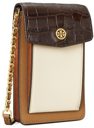 Tory Burch Robinson Embossed Color-Block Phone Crossbody