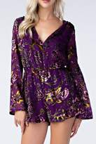 Honey Punch Floral Purple Romper