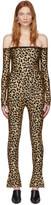 Halpern Tan and Black Leopard Bare Shoulder Jumpsuit