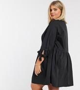 Asos DESIGN Curve grandad collar button through mini smock dress with tie sleeve