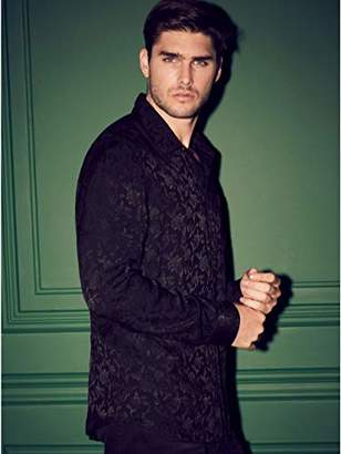 GUESS Men's Long Sleeve Guardian Floral 1 Pocket Shirt