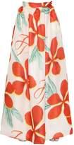 Floral Printed Silk Raffia Maxi Skirt