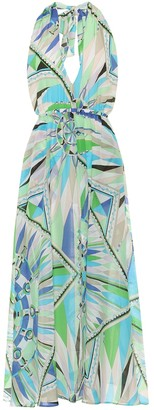 Emilio Pucci Beach Printed cotton and silk maxi dress