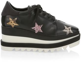 Stella McCartney Sneak-Elyse Python-Print Stars Platform Wedge Sneakers
