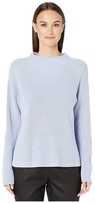 Eileen Fisher Fine Organic Cotton Silk Mock Neck Top