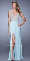 La Femme V Shaped Applique Back Prom Dress