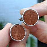 Hold upon Heart Personalised Leather Fingerprint Cufflinks
