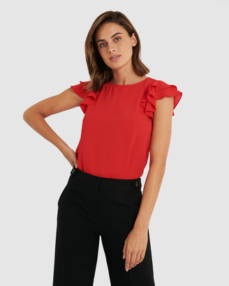 Forcast Women's Shirts & Blouses - Liz Ruffle Sleeve Top - Size One Size, 6 at The Iconic