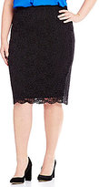 Vince Camuto Plus Lace Midi Skirt