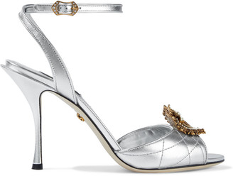 Dolce & Gabbana Keira Devotion Embellished Quilted Metallic Leather Sandals