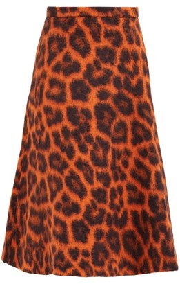 Rochas Leopard-print Alpaca-blend Midi Skirt - Orange Multi