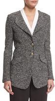 St. John Moorisha Knit Jacket w/ Faux Pockets, Mahogany/Multi