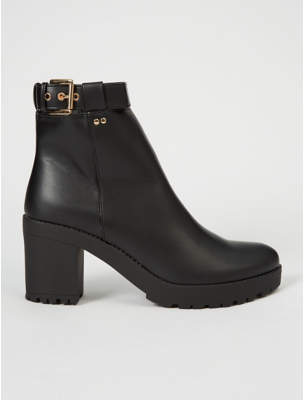 George Black Chunky Buckle Cleated Ankle Boot