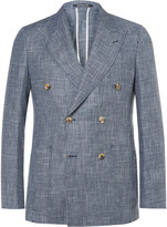 Richard James Blue Spirit Slim-Fit Double-Breasted Checked Linen and Wool-Blend Blazer