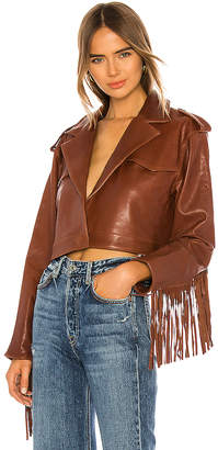 GRLFRND Sadie Leather Fringe Jacket