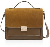 Loeffler Randall Minimal Rider Suede and Leather Satchel