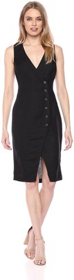 ASTR the Label Women's Demi Faux WRAP Button MID Length Sleeveless Sheath