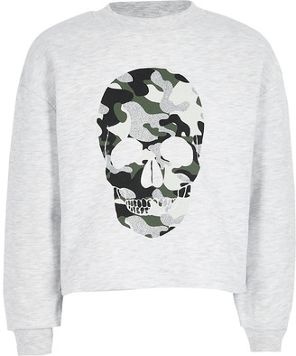 River Island Girls grey camo skull printed sweatshirt