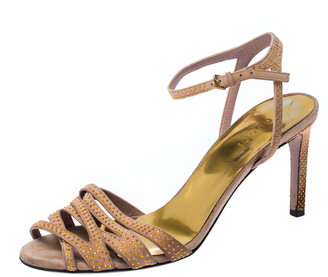 Gucci Beige Suede Fleur Studded Ankle Strap Sandals Size 37.5