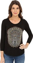 Lucky Brand Women's Embellished Peacock Tee