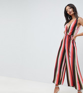 Asos DESIGN Tall jumpsuit with wrap front in multi stripe print