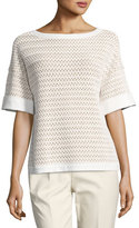 Lafayette 148 New York Haven Short-Sleeve Relaxed Woven Top, Multi