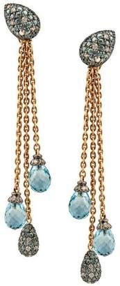 Kojis Gold Pave Diamond And Blue Topaz Triple Tassel Drop Earrings