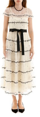 RED Valentino Frill Tiered Embellished Dress