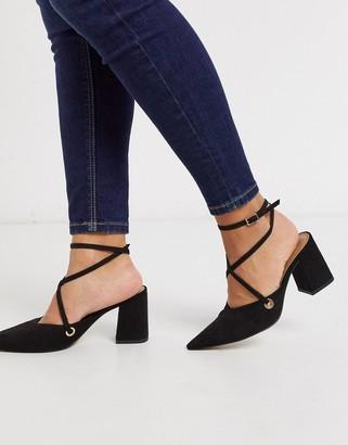 Asos Design DESIGN Seeker pointed mid heels in black